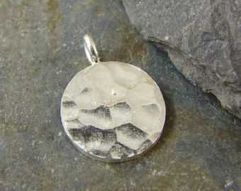 Hammered Disk Pendant - Fine Silver Charms - Round Pendant - Hill Tribe Fine Silver findings - phdhtfs