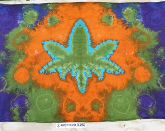 "Cannabis Leaf Tie Dye Tapestry #23 (Dharma Trading Co. Size 44"" x 72"") (A Series of 420)"
