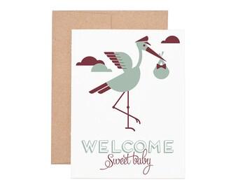 Stork Sweet Baby Letterpress Greeting Card