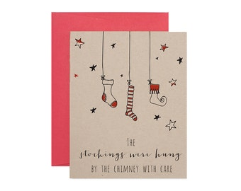 Letterpress Holiday Card - Christmas Stockings - Boxed Set