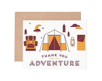 Thanks for the Adventure Letterpress Greeting Card - Thank You Card Letterpress Card