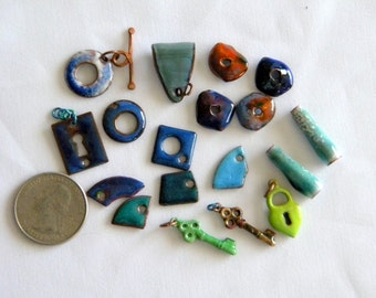 C Koop Enamel Enameled Findings, 18 Pieces Toggle, Bail, Cones, Key, Lock, Heart Charms Blue, Lime Green, Copper, DESTASH