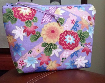 Asian Floral Make Up Pouch / Wristlet / Cell Phone Bag / Organizer