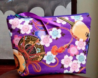 Make Up Pouch Asian Music in the Garden, Purple, Wristlet, Cell Phone Bag, Cosmetic Organizer