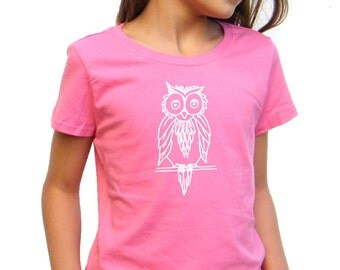 Girls Tshirt - Owl design - Available in S, M, L, XL - 5yo, 6yo, 7yo, 8yo, 9yo, 10, yo, 11yo, 12yo