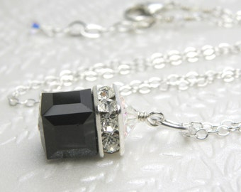 Black Onyx Crystal Necklace, Swarovski Cube, Sterling Silver, Winter Wedding Jewelry, Bridesmaid Necklace, Handmade Jewelry, Christmas Gift