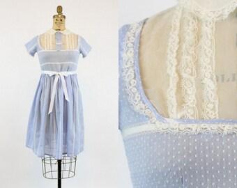 30s Dress Swiss Dot XS / 1930s Vintage Petite Sheer Cotton Babydoll Dress / Sky Blue Dress