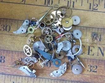Vintage WATCH PARTS gears - Steampunk parts - d46 Listing is for all the watch parts seen in photos