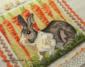 Carrot Patch Rabbit Punch Needle Embroidery DIGITAL Jpeg and PDF PATTERN Michelle Palmer Painting with Threads