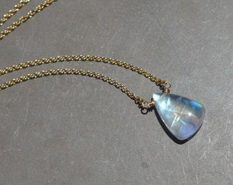 Rainbow Moonstone Briolette Necklace