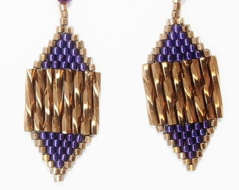 Diamond Shaped Seed Bead Earrings with Antique Gold Bugle Beads and Purple Seed Beads