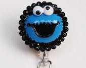 Cookie Monster ID Badge Reel - Retractable ID Badge Holder - Zipperedheart