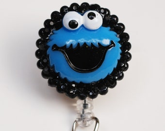 Cookie Monster ID Badge Reel - Retractable ID Badge Holder - Zipperedheart
