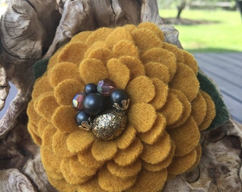 Harvest Gold Wool Flower Brooch Pin with Vintage Earring Center