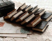 The Mystical Miniature Library - 11 Miniature Reclaimed Leather Books, Vintage Buddhist Trinket Box, OOAK