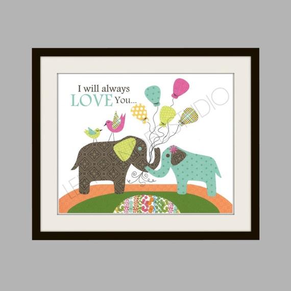 FREE SHIPPING- Elephant Art Print, Children's, NURSERY, Kids Room Decor, Bird, 8x10 Print, Personalized