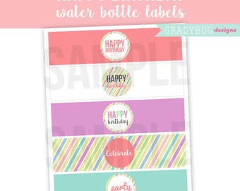 Happy Birthday Water Bottle Labels Printable Drink Wrappers Digital File Stripes Purple Pink Yellow INSTANT DOWLOAND