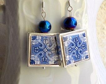 Portugal Antique Azulejo Tile Replica 925 SILVER FRAMED Earrings from BARCELOS  Blue  (see actual Facade photos) 715 Silver