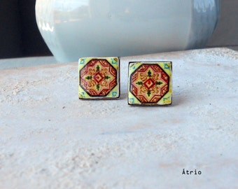 Portugal Antique Azulejo Tile Replica STUD Post Earrings  ESMORIZ  (see photo Abandoned Home) 389  Stud in Gift Box - Silver or Brass