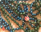 Vintage Mercury Glass Garlands One blue string One green string Approx 8' PEA SIZE Double Beadsh