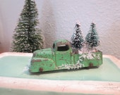 """Vintage Metal Tootsie Toy Truck loaded 2 Bottle Brush Trees Loaded Ready for Delivery Desk Decor Vintage Decor Holiday Decor 3"""" Green Truck"""