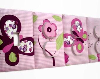 Butterfly Light Switch Cover - Pink Purple Nursery Outlet Covers  - Girls Nursery Decor - Butterfly Flower Bedroom - Sugar Plum Nursery