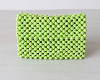 Vintage Green Handbag Clutch Purse / Beaded Handbag / Beaded Purse / 1960s Handbag / Lime Green