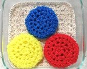 Pot Scrubber, 3pk, durable, scour pads, nylon net, home, kitchen, bath, eco-smart, 20 colors. Please specify colors from list.