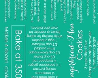 SUMMER SALE - 2 yards - Recipes in Teal - Cozy Christmas - C5361 - Riley Blake Designs - Lori Holt