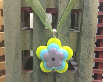 Fused Glass Daisy Flower Necklace Pendant