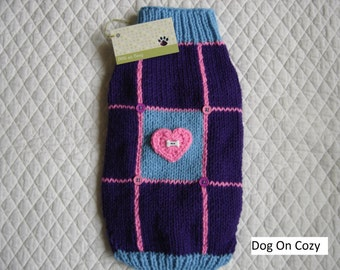 Colorful Dog  Sweater, Full Length Pet Sweater, Size XSMALL, Heart Patch, Purple
