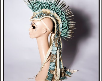 Menthallation Station… Mohawk in Minty Blue and Cream With Deconstructed Ruffles Headdress