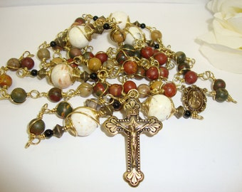 Catholic Rosary, Picasso Jasper and bronze, wire wrapped, Sacred Heart of Jesus, Abundant Grace Rosaries, Indylin***