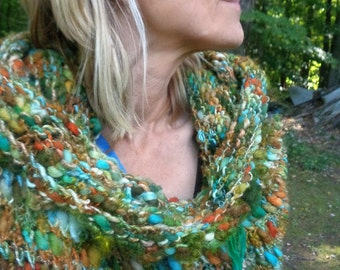 scarf cowl autumn wrap infinity scarf hand knit art yarn - autumn arrival