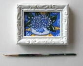 "Hydrangea Painting, Original Still LifeOriginal, acrylic, Shabby white frame, French Country, 3 1/2"" x 4 1/2"",blue and yellow, gift idea"