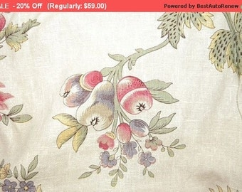 On SALE - Gorgeous Vintage Fabric Linen Peony Fruit Butterfly