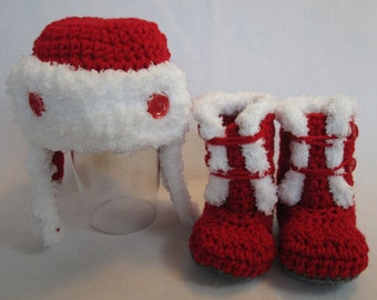Baby Aviator pilot hat & booties mukluks boots red white fleece trim