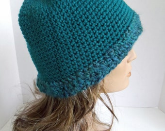 Crocheted Teal Cloche