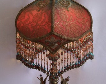 Jeweled Bedecked Gothic Victorian 3 Elephant Antique Table Lamp With Handmade Lampshade Beaded fringe Artistic One of a kind