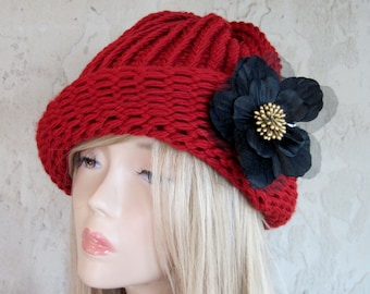 Red Cloche Adult Hand Knit Hat with Removable Flower Ready to Ship