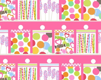 Blend Lolly Fabric - Candy Store Fabric - Candy Jar Fabric - Blend Fabric - Maude Asbury Fabric - Bright Quilt Fabric - Candy Pink Fabric