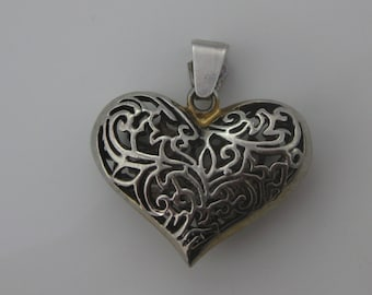 Vintage Ornate Sterling Silver Puffy Heart Pendant Signed SU