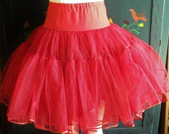 1950s Petticoat, 50s Red Petticoat, 1950s Tutu, Red Petticoat, 50s Crinoline, osfm