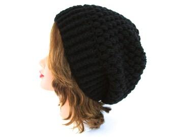 Slouchy Beanie - Puff Stitch Hat - Black Hat - Women's Hat - Winter Headwear - Crochet Accessories