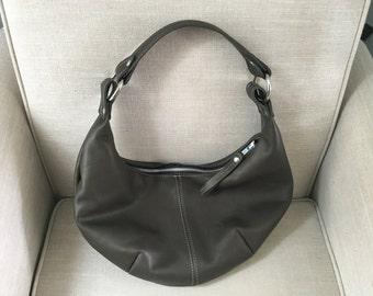 HOBO - gray leather purse - leather shoulder bag - gray leather bag - zipper bag - leather hobo - handmade hobo purse - handbag - zippered