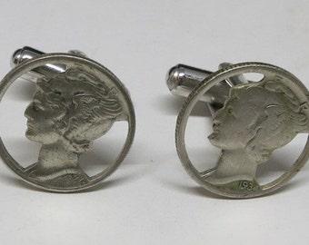 A Pair of Mercury Dime Cufflinks