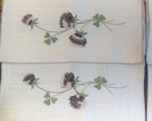 Linen Placemat Set 4 Embroidered Irish Clover Thistle Vintage Natural Ivory Green Brown Flower Embroidery Lot NWOT