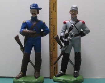 Civil War Soldiers 2 Figures Large Vintage Military Chalk Ware or Ceramic Pair Confederate Union Soldier Figurines