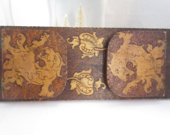 Vintage Pyrography Rampant Lion Desk Book Shelf Quite Nice 14 x 5 1/2 inches