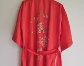 Vintage Rayon Kimono/Robe with Embroidery Rich Coral by Dynasty Size Small with Original Tags